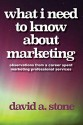 WHAT I NEED TO KNOW ABOUT MARKETING